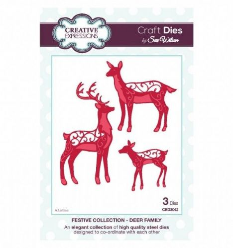 FESTIVE COLLECTION - Deer Family CED3042 by Sue Wilson